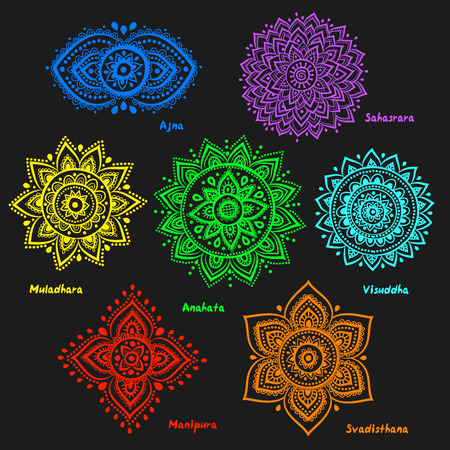 chakra symbols: Isolated Set of beautiful ornamental 7 chakras