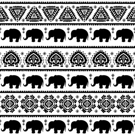 vintage travel: Ethnic vintage elephant seamless for you business
