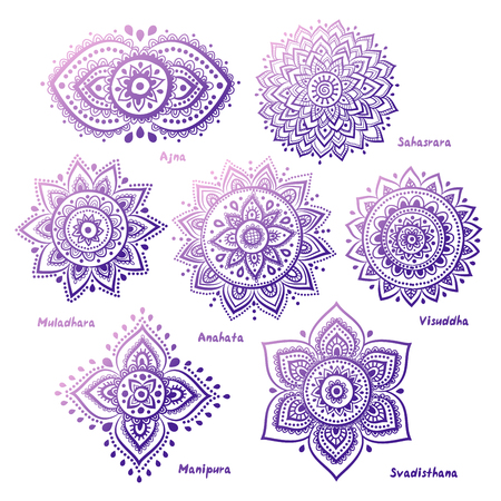 energy healing: Isolated Set of beautiful ornamental 7 chakras