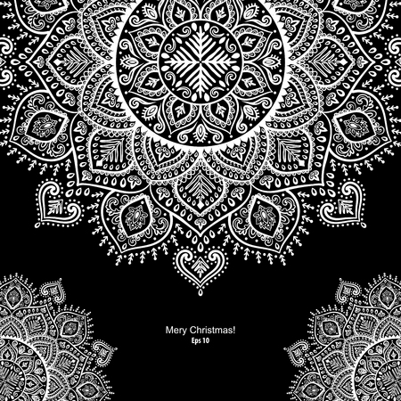 Beautiful vector Christmas snowflake mandala indian ornament Illustration