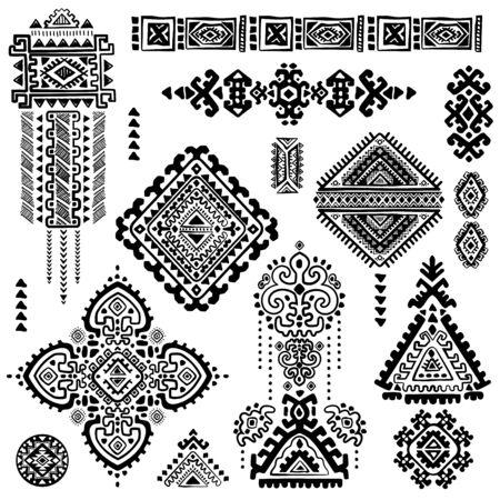 aura energy: Set of ornamental Indian elements and symbols