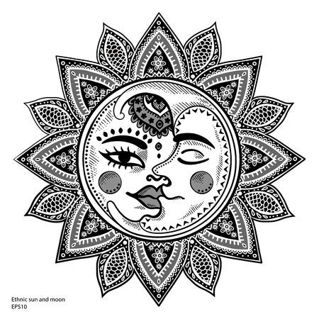 słońce: Słońce, księżyc i gwiazdy vintage, ilustracji wektorowych