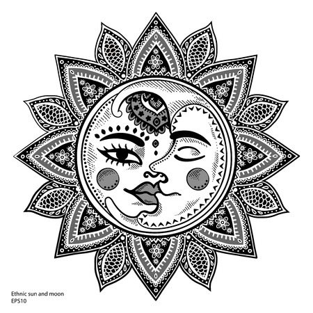 sol: Sun, ilustración vectorial vendimia luna y las estrellas