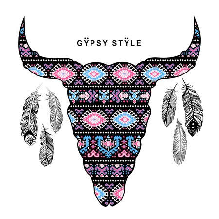 longhorn cattle: Vector Tribal animal skull illustration with ethnic ornaments