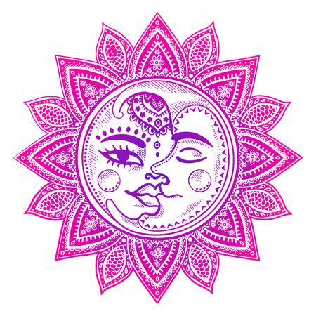 Sun, ilustración vectorial vendimia luna y las estrellas