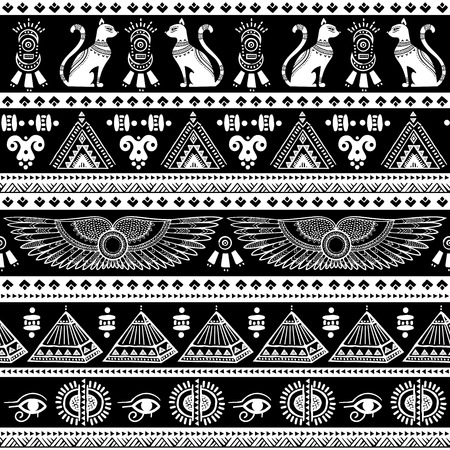 ancient egyptian culture: Vector tribal ethnic seamless pattern with Egypt symbols Illustration