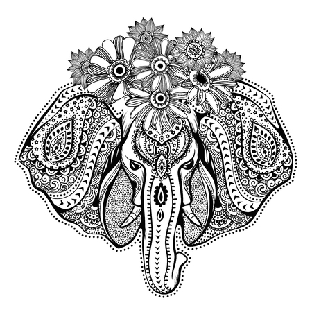 persia: Vintage elephant illustration can be used as a greeting card