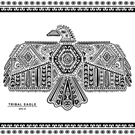 Vintage native American eagle illustration can be used as a greeting card