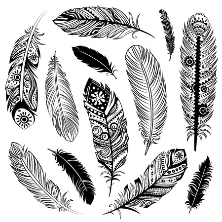 pillows: Set of  Ehnic feathers can be used as a greeting card or for your business