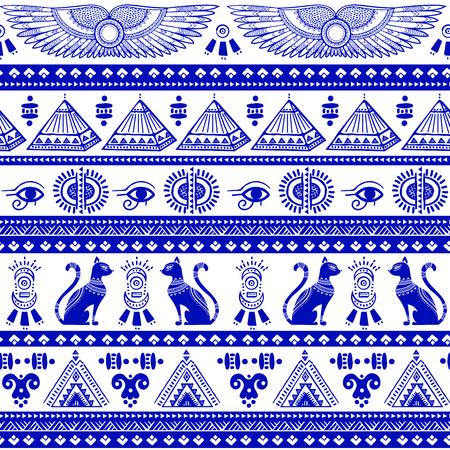 Vector tribale etnische naadloze patroon met Egypte symbolen