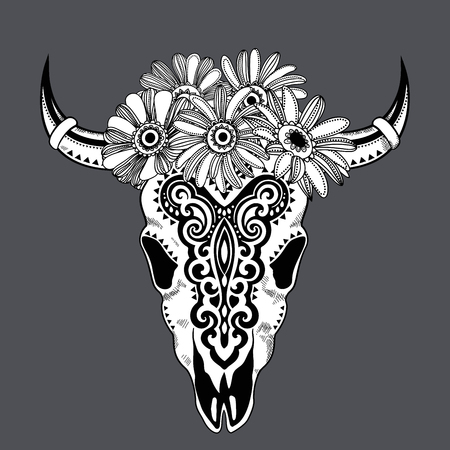 flower sketch: Vector Tribal animal skull illustration with ethnic ornaments