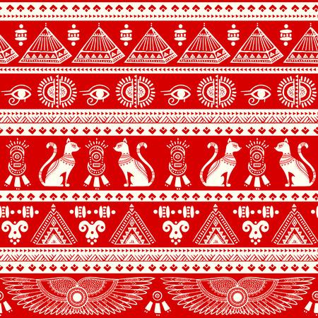 Vector tribal ethnic seamless pattern with Egypt symbols Illustration