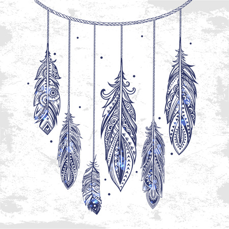 Vintage vector ethnic tribal feather seamless. Bohemian style.