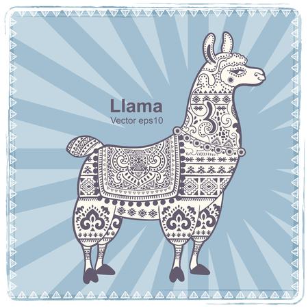 Vector cute Alpaca Llama animal with ethnic ornaments