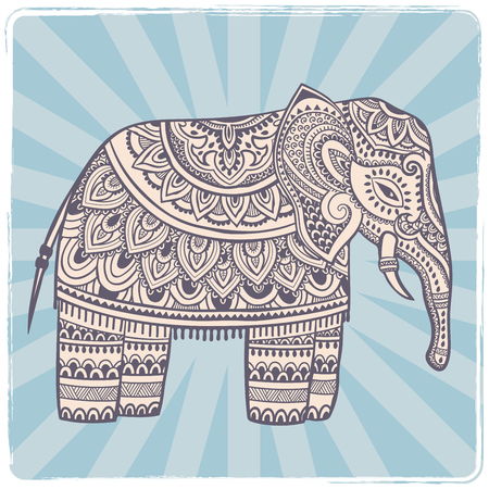 persia: Vintage Indian elephant with tribal ornaments. Floral mandala greeting card.