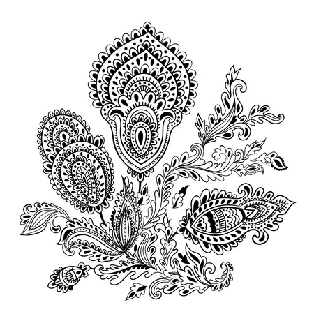 used ornament: Beautiful Indian floral ornament can be used as a greeting card Illustration