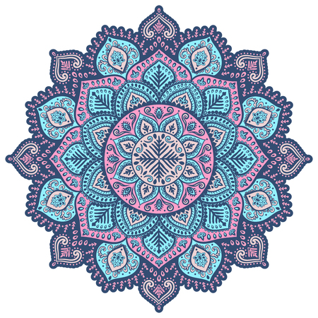 Beautiful vector Christmas snowflake mandala ornament pink and blue