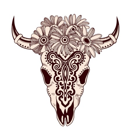 cow skull: Vector Tribal animal skull illustration with ethnic ornaments