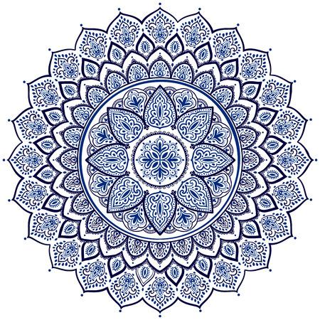 Belle vecteur flocon de neige ornement mandala de Noël rose et bleu Banque d'images - 53415281