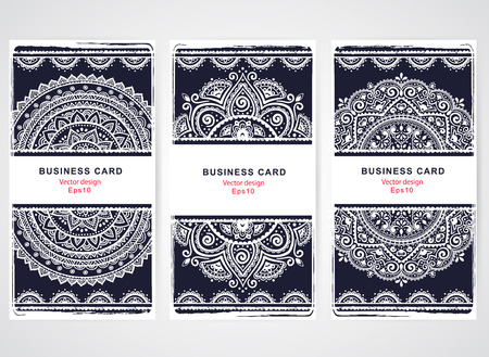boho: Set of banners with floral Indian ornaments can be used as a business cards