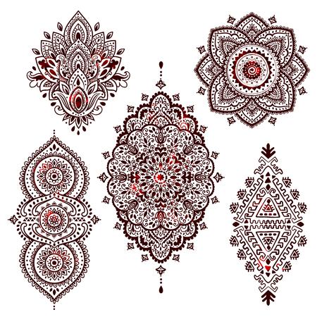 Set of Beautiful Indian ethnic ornaments. Folk Henna tattoo style. 向量圖像