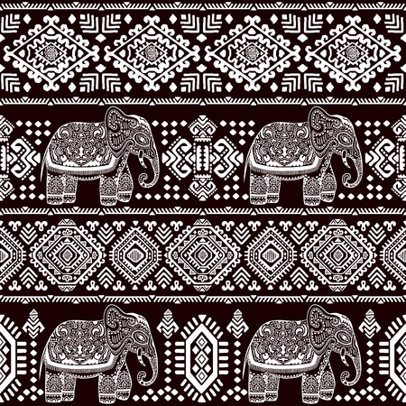 Vintage vector Indian elephant seamless pattern with tribal ornaments. 일러스트