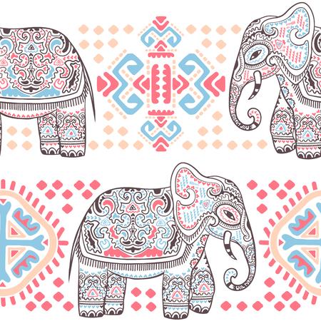 ビンテージ ベクトル部族の装飾品でインド象のシームレスなパターン。  イラスト・ベクター素材
