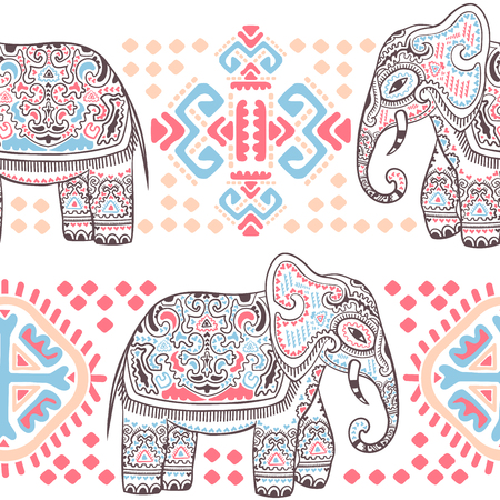 Vintage vector Indian elephant seamless pattern with tribal ornaments. Çizim