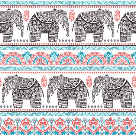 indische muster: Vintage-Vektor-indischen Elefanten nahtlose Muster mit Stammes-Verzierungen.