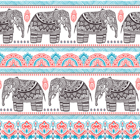 Vintage vector Indian elephant seamless pattern with tribal ornaments. Vettoriali