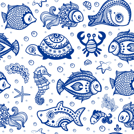 Vector set of fish and shells for your business