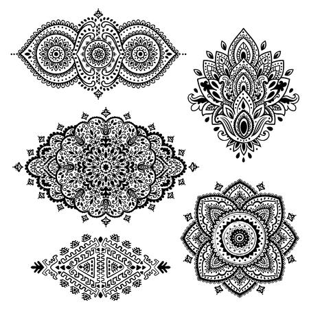 ベクトル インドの花飾りのセット。マンダラ。ヘナ