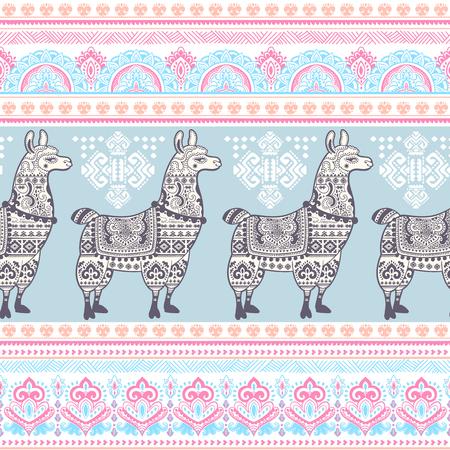 alpaca animal: Vector cute Alpaca Llama animal with ethnic ornaments
