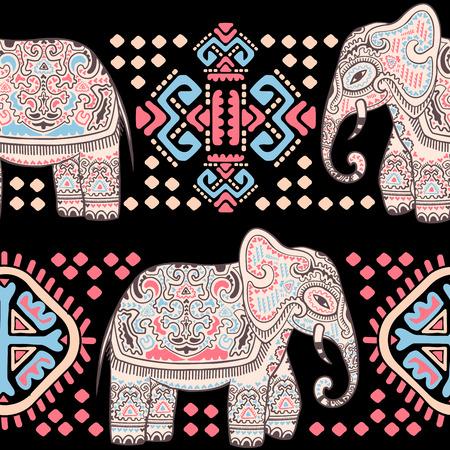 Weinlese-indische Elefant mit Stammes-Verzierungen. Floral Mandala Grußkarte.