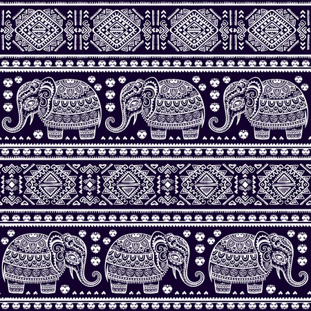 Vintage Indian elephant with tribal ornaments. Floral mandala greeting card.