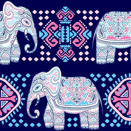 部族の装飾品でヴィンテージのインド象。花曼荼羅のグリーティング カード。