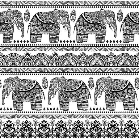 Elefante indiano Vintage con ornamenti tribali. Biglietto di auguri floreale mandala. Archivio Fotografico - 54343614