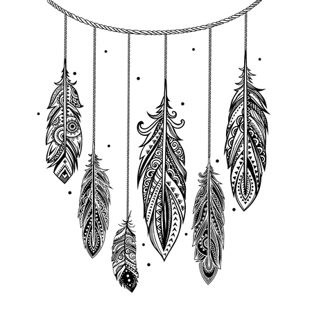 lace pattern: Set of banners with Ehnic feathers can be used as a greeting card or for your business