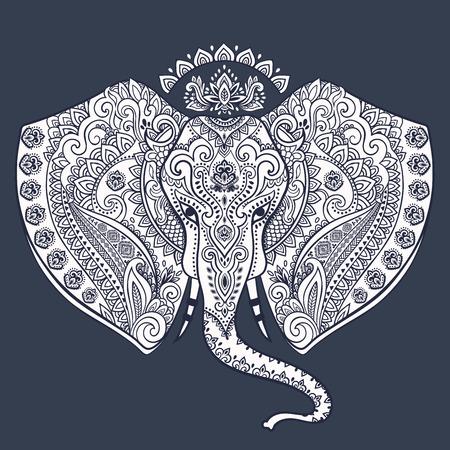 Elefante indiano Vintage con ornamenti tribali. Biglietto di auguri floreale mandala. Archivio Fotografico - 56472503