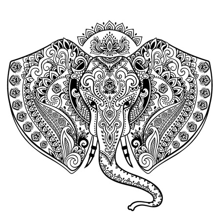 thai pattern: Vintage Indian elephant with tribal ornaments. Floral mandala greeting card.
