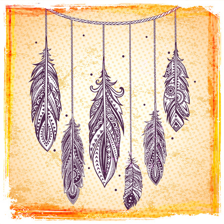 Set of banners with Ehnic feathers can be used as a greeting card or for your business