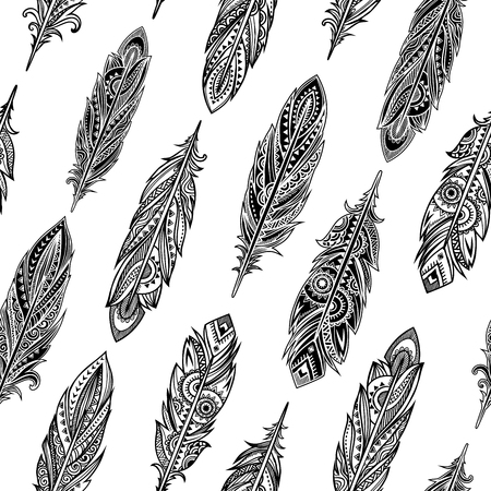 feathery: Vintage vector ethnic tribal feather seamless. Bohemian style.