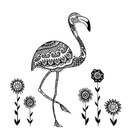 flamenco ave: Tribal vector del pájaro del flamenco con los ornamentos étnicos