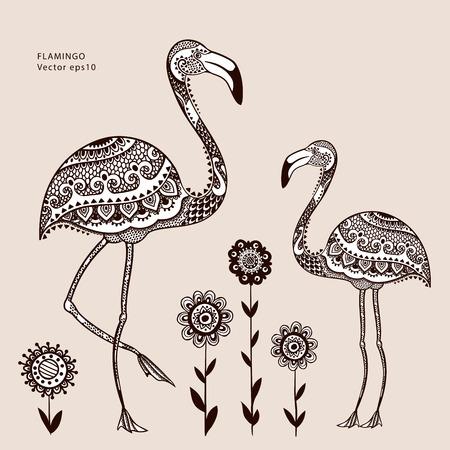 flamenco ave: Tribal vector del p�jaro del flamenco con los ornamentos �tnicos