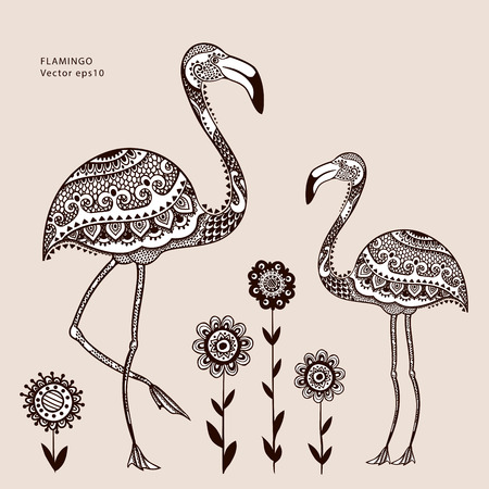 flamingos: Vector tribal Flamingo bird with ethnic ornaments