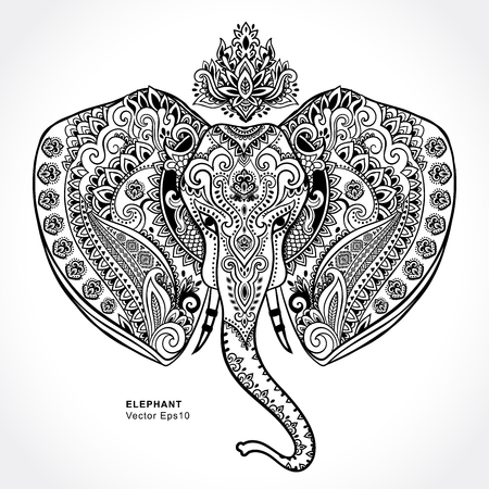 mandala: Vintage Indian elephant with tribal ornaments. Floral mandala greeting card.