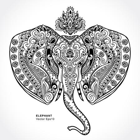 Weinlese-indische Elefant mit Stammes-Verzierungen. Floral Mandala Grußkarte. Standard-Bild - 56479636