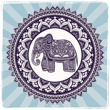 indische muster: Weinlese-indische Elefant mit Stammes-Verzierungen. Floral Mandala Grußkarte.