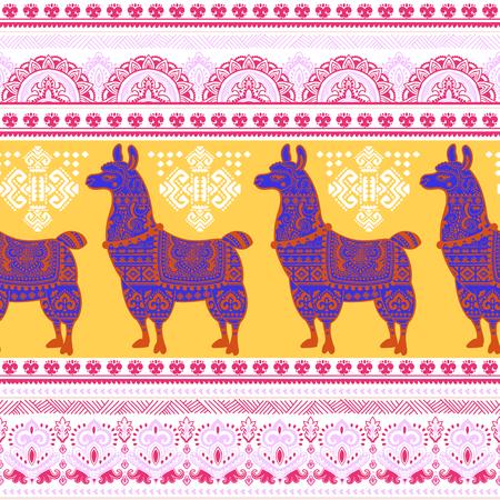 america del sur: Vector lindo de los animales de la alpaca de la llama con los ornamentos étnicos Vectores