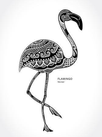 floral decoration: Vector tribal Flamingo bird with ethnic ornaments